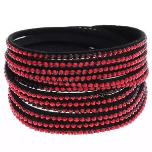 Red & black rhinestone vegan leather bracelet NEW